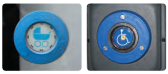 Two buttons. On the left with a pram symbol, on the right with a wheelchair symbol