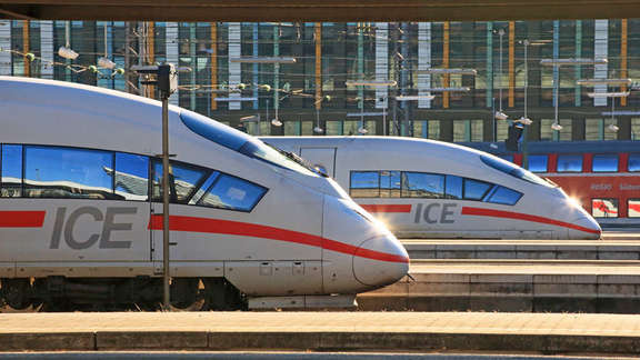 Two heads of ICE trains in a station
