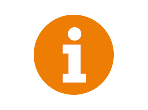 White information symbol on a round orange background